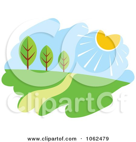 Clipart Spring Landscape Logo 2 - Royalty Free Vector Illustration by Vector Tradition SM