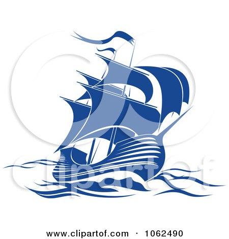 Clipart Blue Sailing Ship 4 Royalty Free Vector