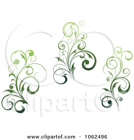 Clipart Green Flourish Digital Collage 3 - Royalty Free Vector Clip Art Illustration by Vector Tradition SM