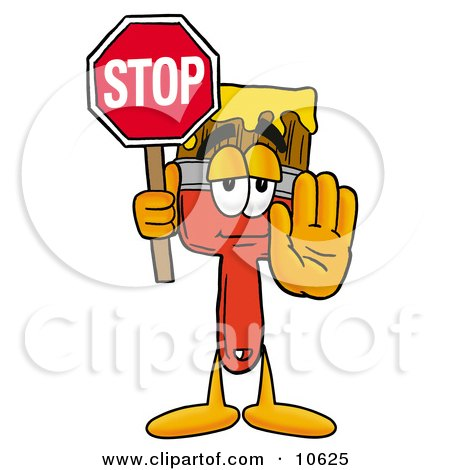 Clipart Picture of a Paint Brush Mascot Cartoon Character Holding a Stop Sign by Toons4Biz