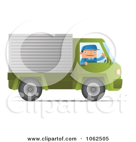 Clipart Mover Driving A Green Truck - Royalty Free Vector Moving Illustration by Qiun