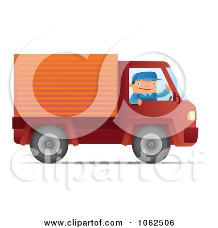 Clipart Mover Driving A Red Truck - Royalty Free Vector Moving Illustration by Qiun