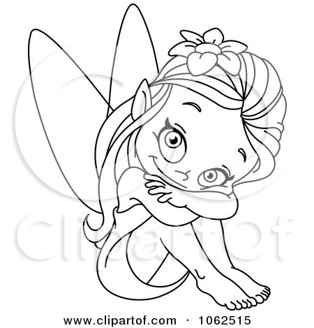 fairy graphic outline coloring pages | Clipart Sitting Fairy Outline - Royalty Free Vector ...