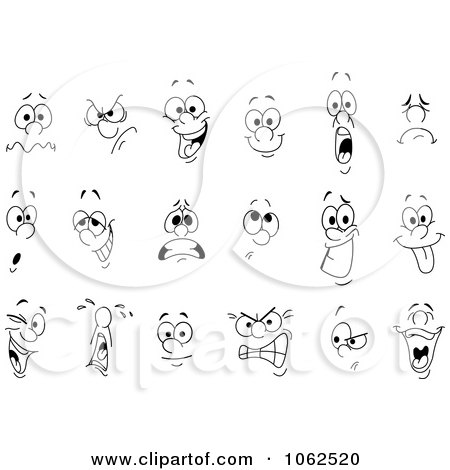 Clipart Facial Expressions Digital Collage - Royalty Free ...