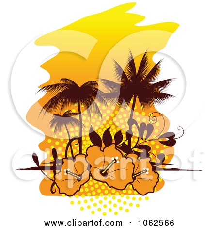 Clipart Palm Tree Island And Hibiscus Background 2 - Royalty Free Vector Clip Art Illustration by Vector Tradition SM