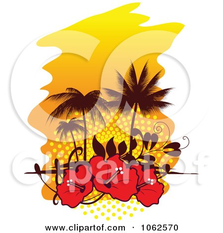 Clipart Palm Tree Island And Hibiscus Background 1 - Royalty Free Vector Clip Art Illustration by Vector Tradition SM