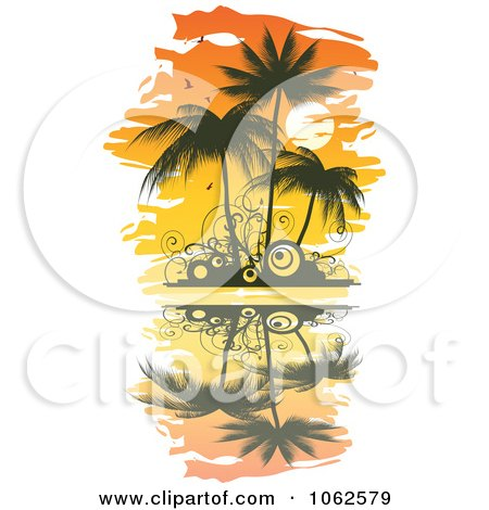 Clipart Palm Tree Island 1 - Royalty Free Vector Clip Art Illustration by Vector Tradition SM
