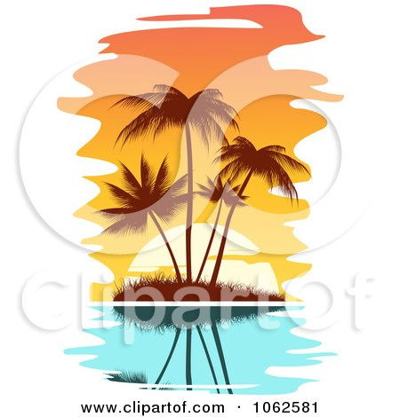 Clipart Palm Tree Island 2 - Royalty Free Vector Clip Art Illustration by Vector Tradition SM