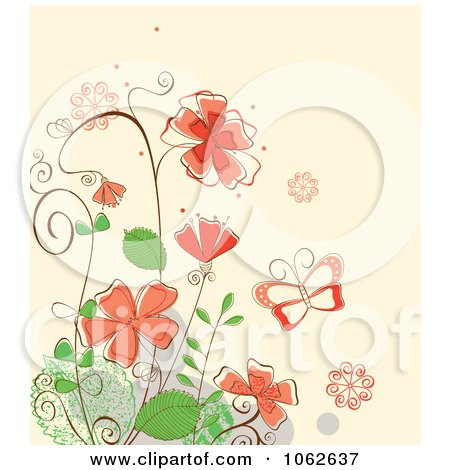 Clipart Pink Floral Background 3 - Royalty Free Vector Illustration by Vector Tradition SM
