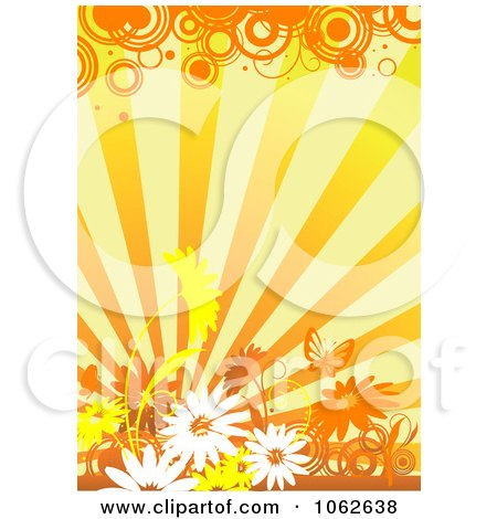 Clipart Orange Floral Background 7 - Royalty Free Vector Illustration by Vector Tradition SM