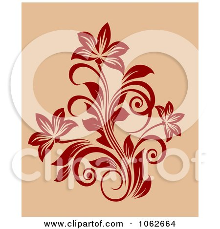 Clipart Red Floral Design On Tan 2 - Royalty Free Vector Clip Art Illustration by Vector Tradition SM