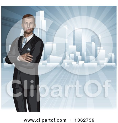Clipart 3d Businessman And City Skyline - Royalty Free Vector Illustration by AtStockIllustration