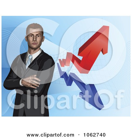 Clipart 3d Businessman And Financial Arrows - Royalty Free Vector Illustration by AtStockIllustration