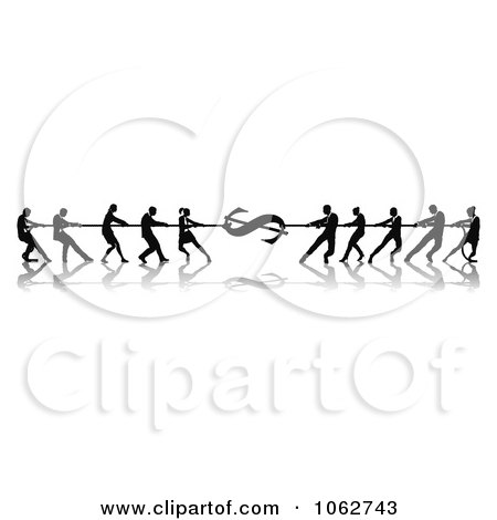 Clipart Silhouetted Financial Tug Of War Business Teams - Royalty Free Vector Illustration by AtStockIllustration