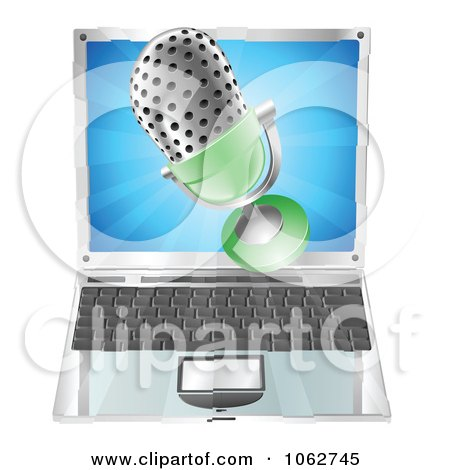 Clipart 3d Mic Over A Laptop - Royalty Free Vector Illustration by AtStockIllustration