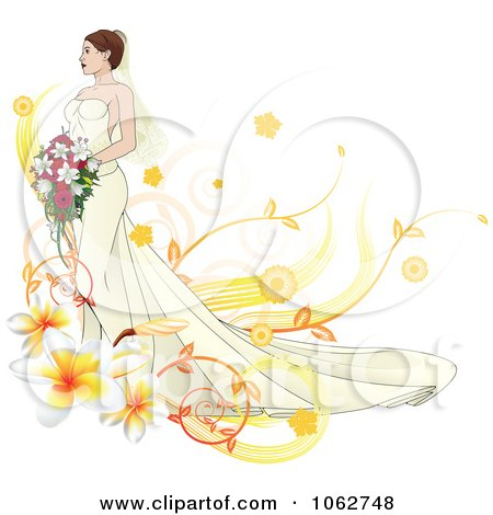 Clipart Gorgeous Bride With Floral Elements - Royalty Free Vector Illustration by AtStockIllustration