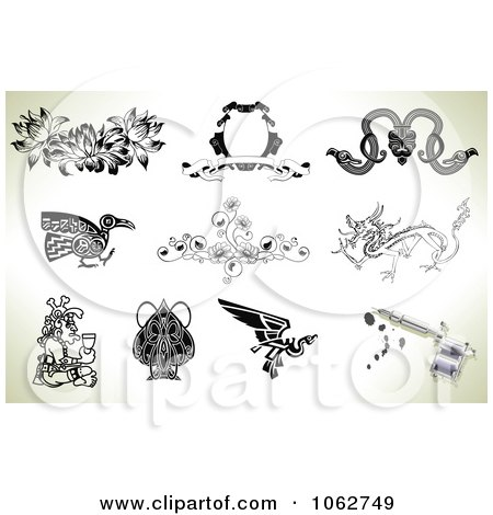 Clipart Tattoo Designs And Gun Digital Collage 2 - Royalty Free Vector Illustration by AtStockIllustration