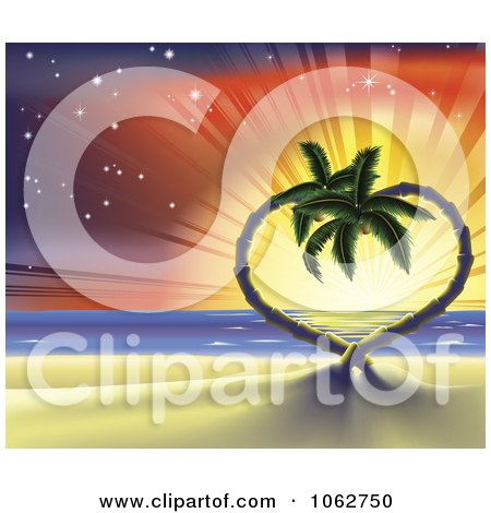 Clipart Sunset Tropical Beach Scene Of Heart Palm Trees - Royalty Free Vector Illustration by AtStockIllustration