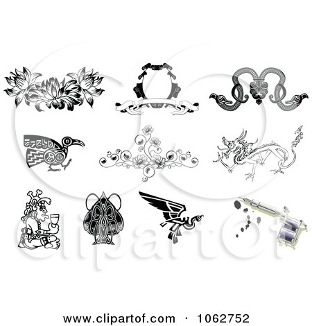 Clipart Tattoo Designs And Gun Digital Collage 1 - Royalty Free Vector Illustration by AtStockIllustration