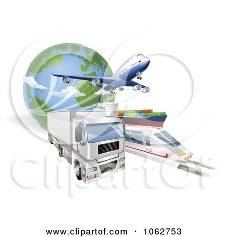 Clipart 3d Big Rig Train Cargo Ship And Airplane With A Globe Royalty Free Vector Illustration