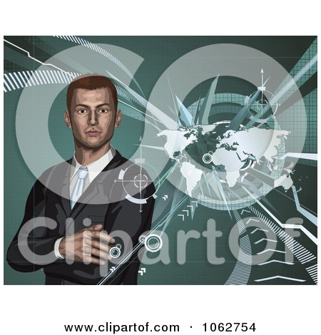 Clipart 3d Businessman And World Map - Royalty Free Vector Illustration by AtStockIllustration