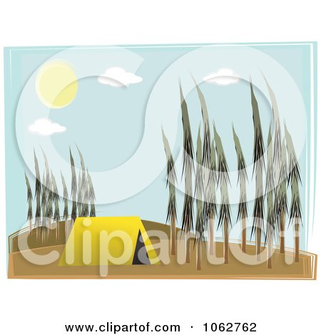 Clipart Tent In A Forest - Royalty Free Vector Illustration by mheld