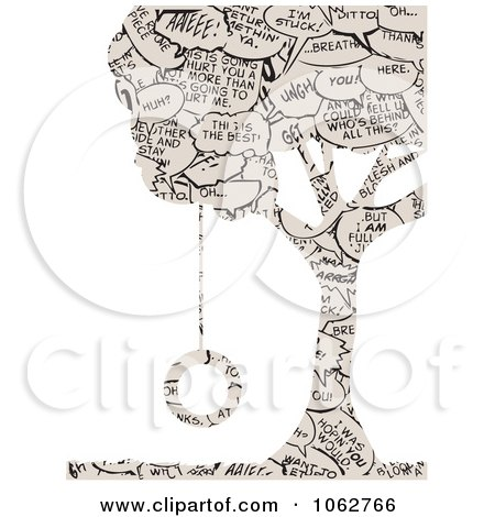 Clipart Comic Word Tree And Swing - Royalty Free Vector Illustration by mheld