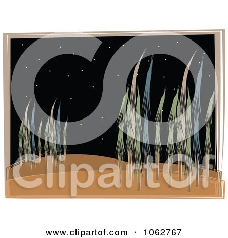 Clipart Forest And Stars At Night - Royalty Free Vector Illustration by mheld