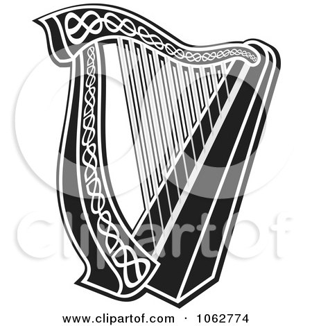 Clipart Harp Black And White - Royalty Free Vector Illustration by Any Vector