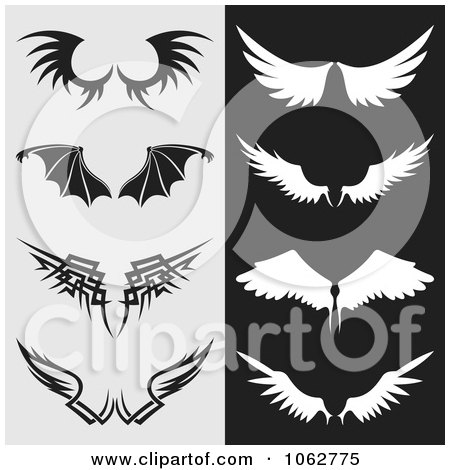 Clipart Wings Digital Collage - Royalty Free Vector Illustration by Any Vector