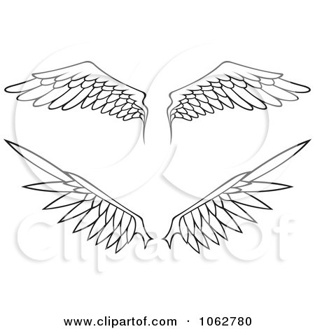 Clipart Outlined Wings Digital Collage - Royalty Free Vector Illustration by Any Vector