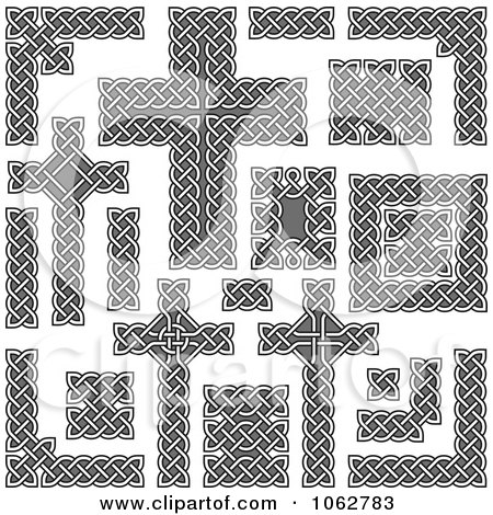Clipart Celtic Borders And Crosses Digital Collage - Royalty Free Vector Illustration by Any Vector