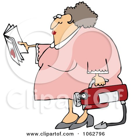 Clipart Woman Reading Extinguisher Manual - Royalty Free Vector Illustration by djart