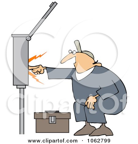 Clipart Electrician Touching A Power Box - Royalty Free Vector Illustration by djart