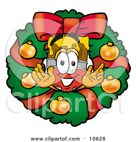 Clipart Picture of a Paint Brush Mascot Cartoon Character in the Center of a Christmas Wreath by Toons4Biz