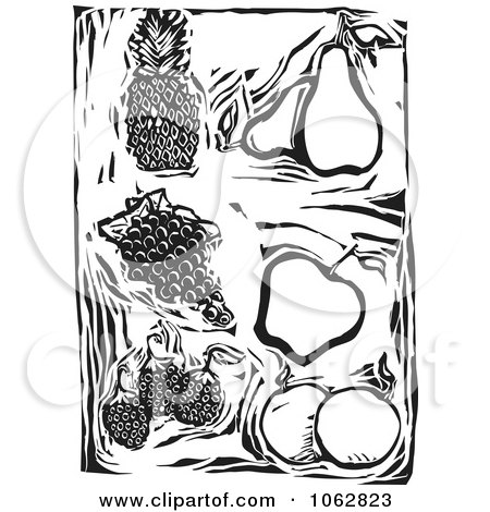 Clipart Woodcut Styled Fruit Black And White - Royalty Free Vector Illustration by xunantunich