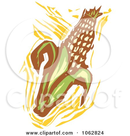 Clipart Woodcut Styled Corn - Royalty Free Vector Illustration by xunantunich
