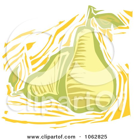 Clipart Woodcut Styled Pears - Royalty Free Vector Illustration by xunantunich