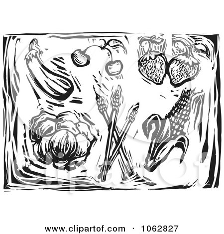 Clipart Woodcut Styled Produce Black And White - Royalty Free Vector Illustration by xunantunich