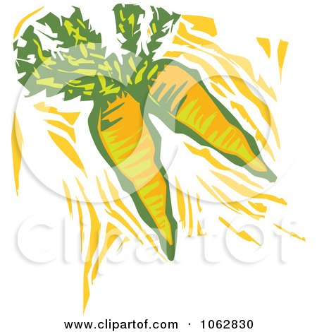 Clipart Woodcut Styled Carrots - Royalty Free Vector Illustration by xunantunich
