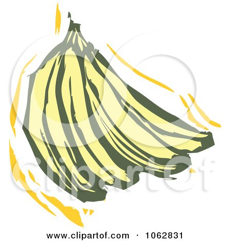 Clipart Woodcut Styled Bananas - Royalty Free Vector Illustration by xunantunich