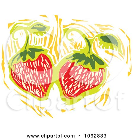 Clipart Woodcut Styled Strawberries - Royalty Free Vector Illustration by xunantunich