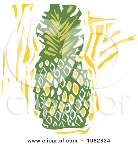 Clipart Woodcut Styled Pineapple - Royalty Free Vector Illustration by xunantunich