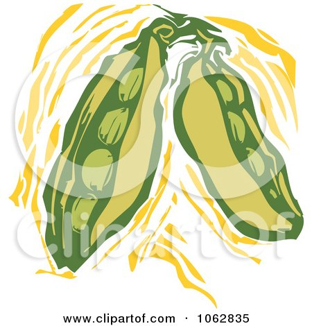 Clipart Woodcut Styled Peas - Royalty Free Vector Illustration by xunantunich