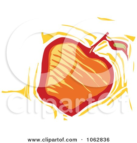 Clipart Woodcut Styled Apple - Royalty Free Vector Illustration by xunantunich