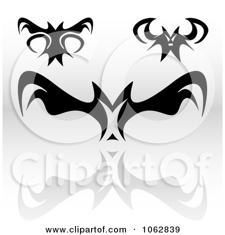 Clipart Gothic Tribal Bats Digital Collage - Royalty Free Illustration by Arena Creative