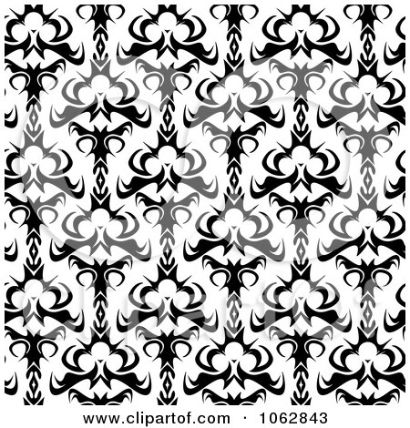 Clipart Seamless Damask Black And White Background - Royalty Free Illustration by Arena Creative