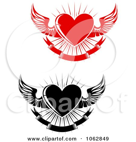 Clipart Winged Hearts Digital Collage 1 - Royalty Free Vector Illustration by Vector Tradition SM