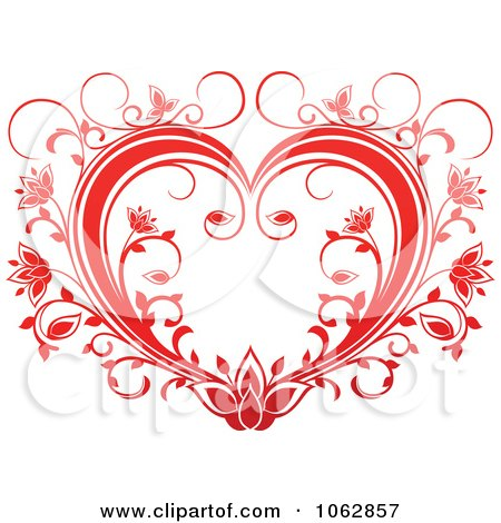 Clipart Floral Red Heart 15 - Royalty Free Vector Illustration by Vector Tradition SM