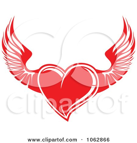 Clipart Red Winged Heart - Royalty Free Vector Illustration by Vector Tradition SM